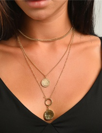 Fashion Golden Coin Totem Round Alloy Multilayer Necklace
