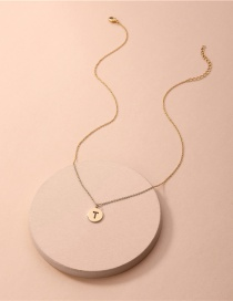 Fashion Golden T Copper Accessories Zircon Letters Electroplating Necklace