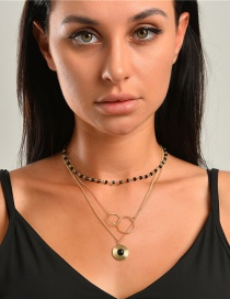 Fashion Golden Crystal Beaded Round Alloy Multilayer Necklace