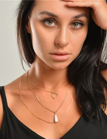 Fashion Golden Natural Freshwater Pearl Horn Alloy Multilayer Necklace