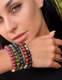 Fashion Color Mixing Wooden Bead Beaded Elastic Bracelet Set