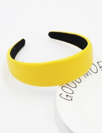 Fashion Yellow Leather Sponge Solid Color Hair Band