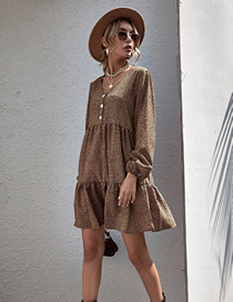 Fashion Brown Printed V-neck Button Long-sleeved Pleated Dress