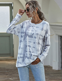 Fashion Off-white Round Neck Long Sleeve Tie-dye Loose Brushed Knit Top