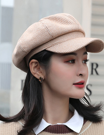 Fashion Khaki Houndstooth Solid Color Wool Octagonal Beret