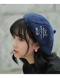 Fashion Navy Blue Embroidered Letters Plush Beret