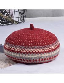 Fashion Wine Red Woolen Wave Pattern Contrast Beret