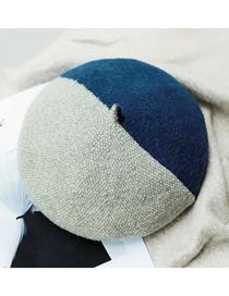 Fashion Navy Blue Wool Blend Stitching Contrast Beret