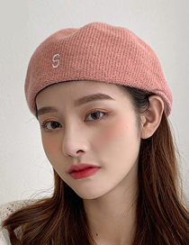 Fashion N Caramel Knitted Letter Embroidery Octagonal Beret