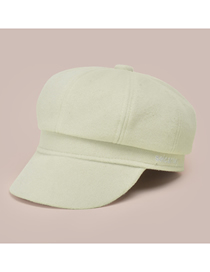 Fashion Beige Solid Color Woolen Letter Embroidery Octagonal Hat