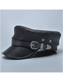 Fashion Leather Cap Black Solid Color Octagonal Hat With Leather Belt Buckle
