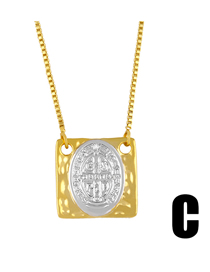 Fashion Oval Cross Notre Dame Pendant Geometric Square Necklace