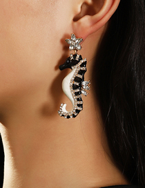 Fashion Color Mixing Alloy Dripping Acrylic And Diamond Seahorse Earrings