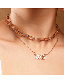 Fashion 2003 Gold Color Year Number Pendant Double Necklace