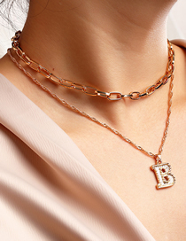Fashion Gold Color 1 Metal Chain English Alphabet Multilayer Necklace
