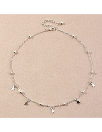 Fashion Silver Color Pentagram Pendant Round Bead Chain Necklace