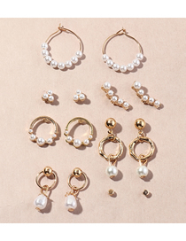 Fashion Gold Color Pearl Geometric Alloy Earrings Set