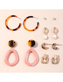Fashion Color Mixing Geometric Acrylic Leopard Print Pearl Earring Set