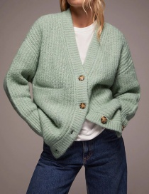 Fashion Green Large Pocket Stitching Single-breasted Knitted Jacket