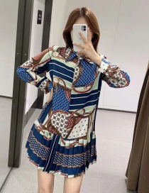 Fashion Color Printed Small Pleated Contrast Dress