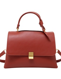 Fashion Brown Solid Color Crossbody Shoulder Bag With Lock Flap
