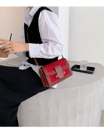 Fashion Red Frosted Stitching Flap Shoulder Crossbody Bag