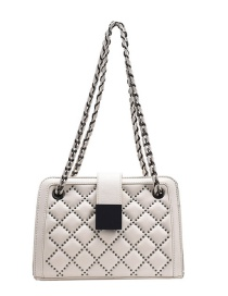 Fashion White Studded Diamond Chain Shoulder Messenger Bag