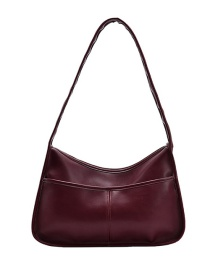 Fashion Red Wine Large Capacity Solid Color Stitching Shoulder Bag