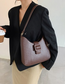 Fashion Red Wine Woven Solid Color Chain Crossbody Bag