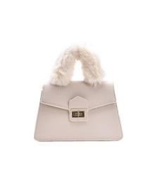 Fashion White Plush Lock Solid Color Diagonal Shoulder Bag