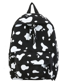 Fashion Black Cow Pattern Canvas Print Backpack
