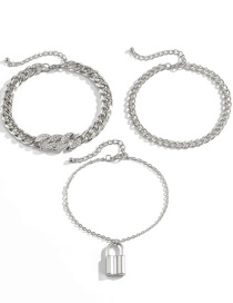 Fashion White K Diamond-studded Lock-shaped Thick Chain Alloy Multilayer Anklet