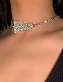 Fashion Letter 1 Alloy Full Diamond And Micro Inlaid Gemstone Geometric Necklace