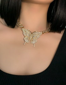 Fashion Butterfly Alloy Full Diamond And Micro Inlaid Gem Geometry Necklace