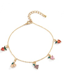 Fashion Gold Color Fruit Acrylic Beads Contrasting Color Geometric Copper Anklet