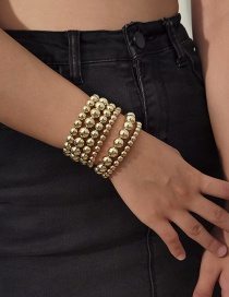 Fashion Gold Color Geometric Multilayer Round Bead Bracelet