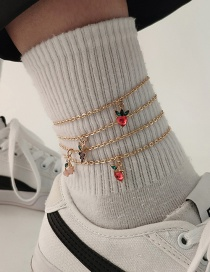 Fashion Gold Color Geometric Fruit Resin Anklet Set With Diamonds
