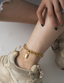 Fashion Gold Color Hollow Lock-shaped Alloy Thick Chain Anklet