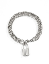 Fashion White K Hollow Lock-shaped Alloy Thick Chain Anklet