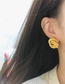 Fashion Gold Color Twisted Round Bead Twisted Twist Alloy Earrings
