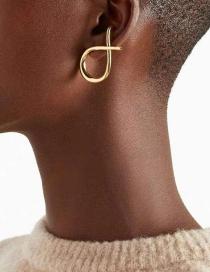 Fashion Single Gold Metal Cross Knot Irregular Earrings