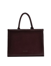 Fashion Coffee Color Solid Color Briefcase With Stamped Letters