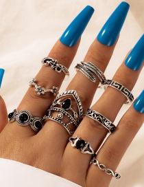 Fashion Silver Hollow Diamond Flower Leaf Ring Set