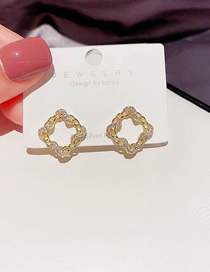Fashion Gold Plated Color Micro-inlaid Zircon Winding Square Earrings