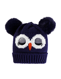 Fashion Navy Blue Owl Unicorn Double Hair Ball Thickened Childrens Knitted Hat