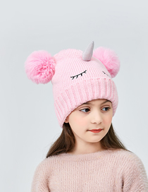 Fashion Rose Red Thicken Unicorn Kids Knitted Hat