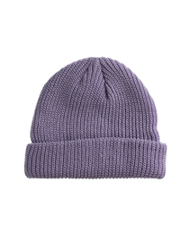 Fashion Grayish Purple Cold And Warm Solid Color Knitted Hat With Curled Edges