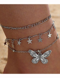 Fashion Silver Butterfly Pendant Multilayer Anklet