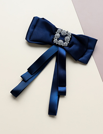 Fashion Blue Fabric Bow Tie Brooch With Diamonds