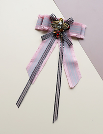 Fashion Pink Insect Bow Striped Fringed Bow Tie Brooch